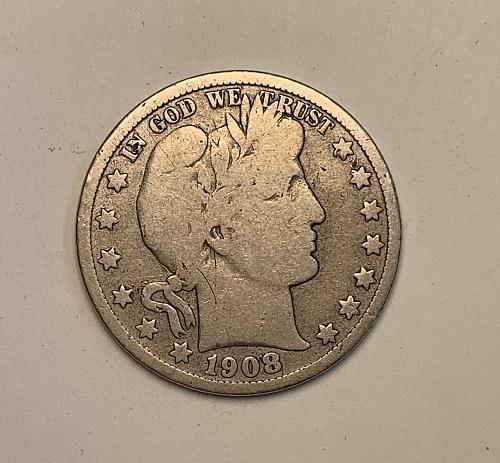 1908-D Barber Half Dollar. VG Very Good  [BH7]
