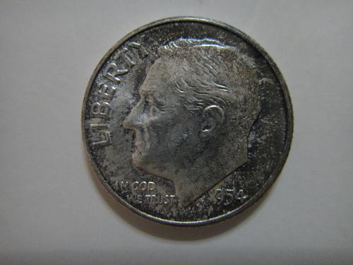 1954 Roosevelt Dime MS-64 (Near Gem) Nice Light Green-Blue Obverse Tone!