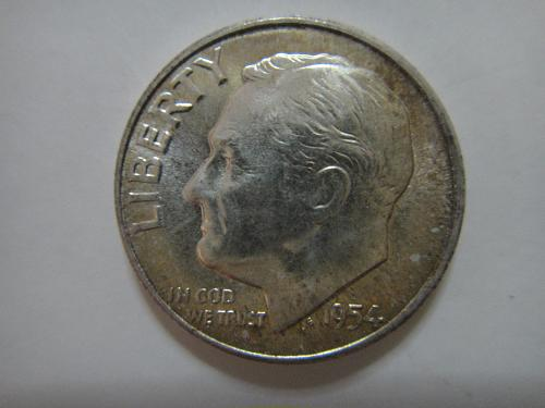 1954 Roosevelt Dime MS-65 (GEM) Light Green to Russet Reverse Tone