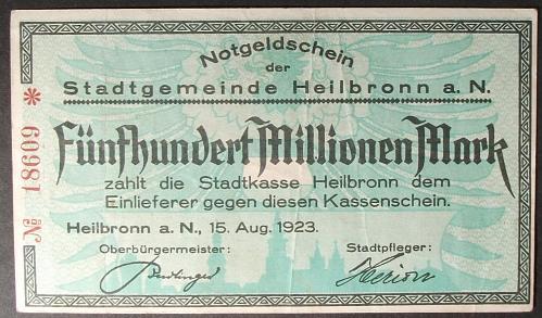 Germany/Heilbronn 500,000,000 Mark VF