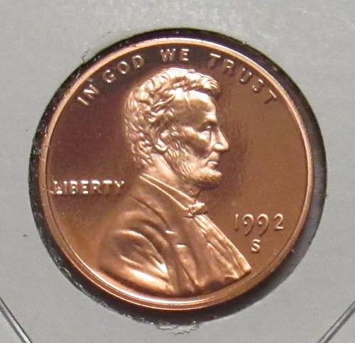 1992 S Proof Lincoln Memorial Cent