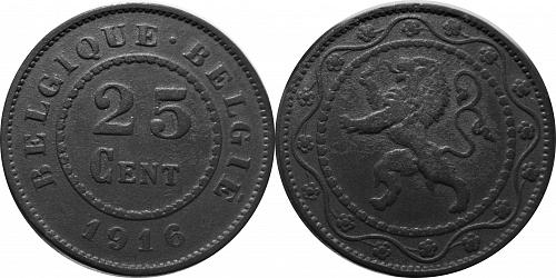 Belgium 1916 25 Centimes – No Dot before or after date    0161
