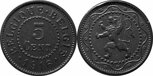 Belgium 1916 5 Centimes  (Dot before and after)   Zinc       0181