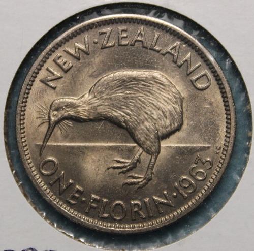 New Zealand 1963 1 florin