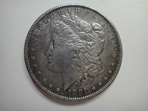 1891-S Morgan Dollar Almost Uncirculated-55 Nice Original Patina!