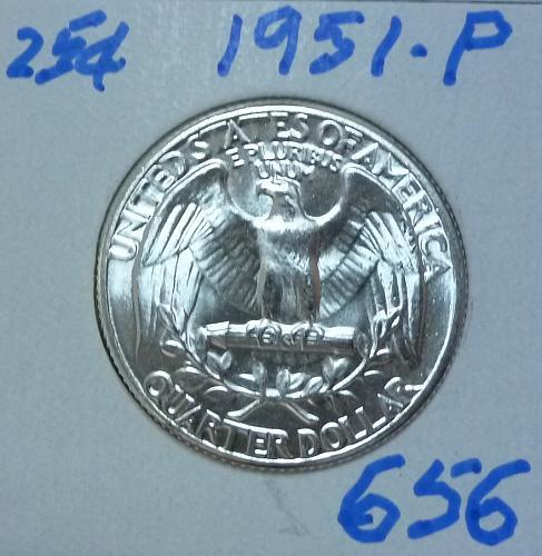 1951-P BRILLIANT UNCIRCULATED Washington Quarter  BU # (656)