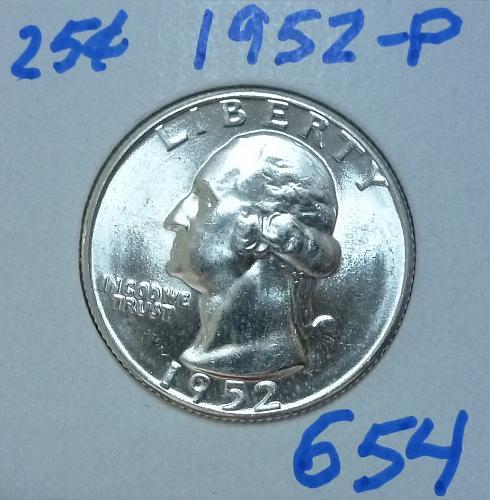 1952-P BRILLIANT UNCIRCULATED Washington Quarter  BU # (654)
