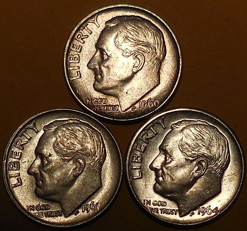 Roosevelt Dimes Three 1960-P 1961-P & 1964-D