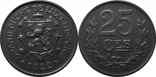 Luxembourg 1922 25 Centimes        0126