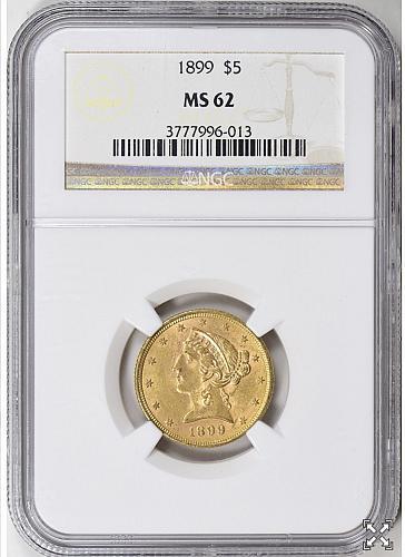 1899 P $5 GOLD LIBERTY HALF EAGLE
