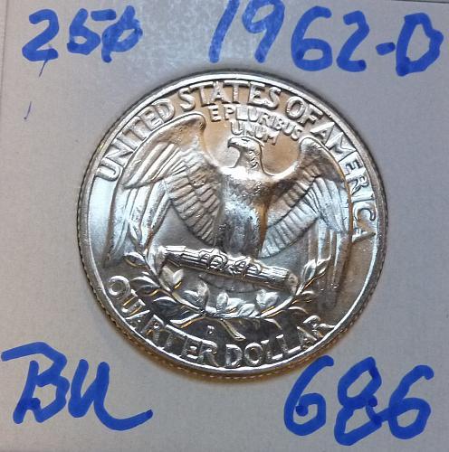 1962-D BRILLIANT UNCIRCULATED Washington Quarter  BU # (686)