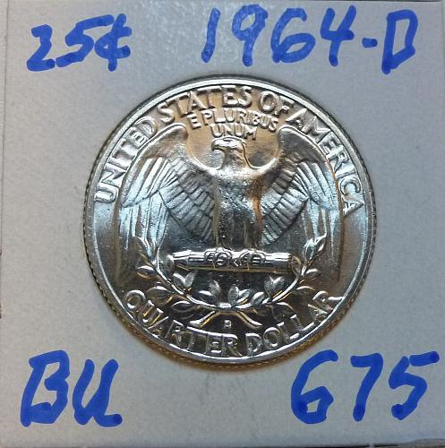 1964-D BRILLIANT UNCIRCULATED Washington Quarter  BU # (675)