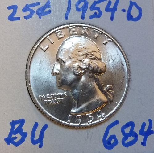 1954-D BRILLIANT UNCIRCULATED Washington Quarter  BU # (684)