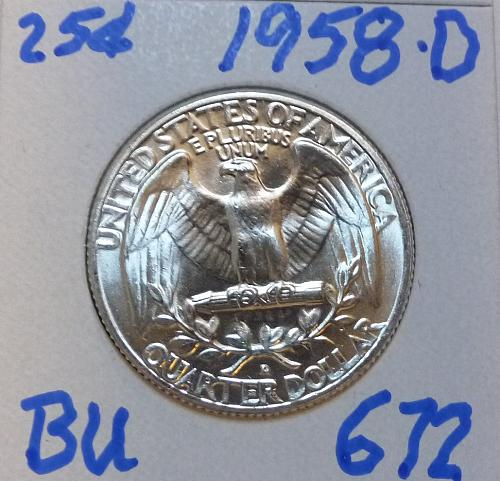 1958-D BRILLIANT UNCIRCULATED Washington Quarter  BU # (672)