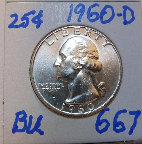 1960-D BRILLIANT UNCIRCULATED Washington Quarter  BU # (667)