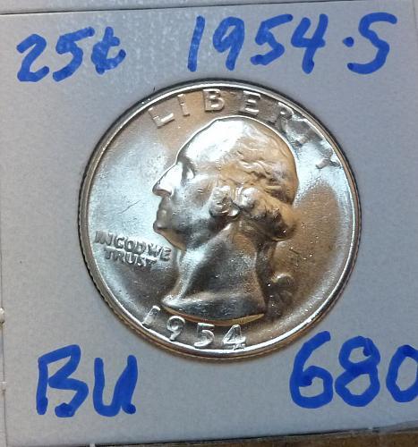 1954-S BRILLIANT UNCIRCULATED Washington Quarter  BU # (680)