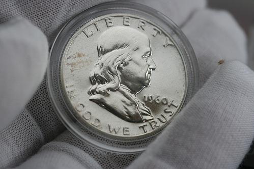 1960 Franklin proof half dollar in Airtight coin holder capsule