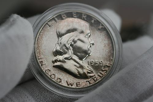 1959 Franklin proof half dollar in Airtight coin holder capsule Toned