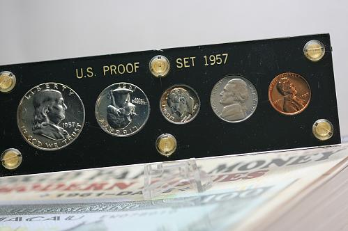 1957 Proof set in black plastic holder