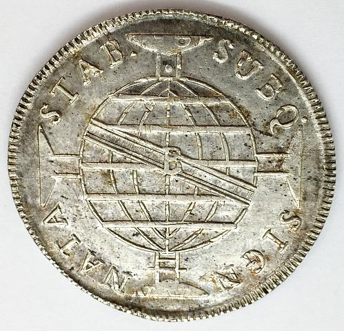 1815 960 Reis Brazil - Stamped Over Spanish Reale - Cleaned