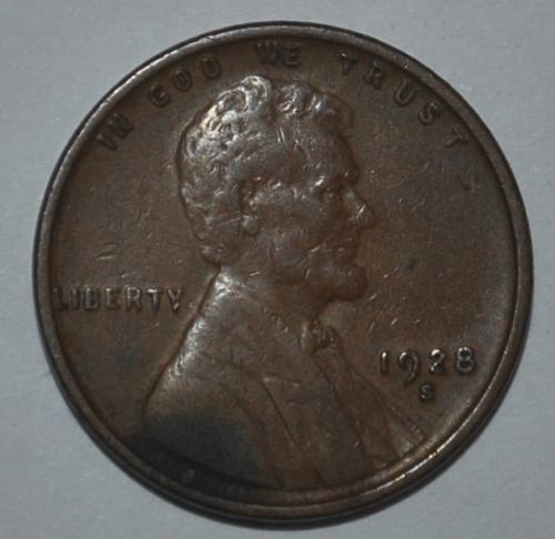 1928 S Lincoln Wheat Cent Small Cent