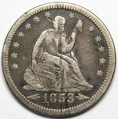 1853 P Seated Liberty Quarter#1 VF30  BV=$95.00