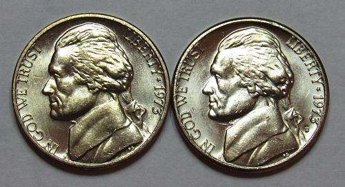 1973 P&D Jefferson Nickels in BU condition