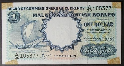 Malaya and British Borneo P8a Dollar Net VF
