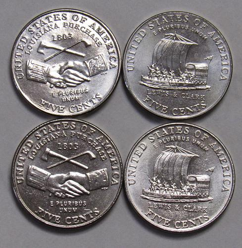 2004 P&D Jefferson Nickels: Peace Medal & Keelboat in BU condition