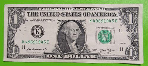 "2013 One US Dollar Banknote - ""K"" Seal - Bank of Dallas Texas"