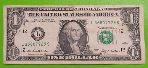 """2009 One US Dollar Banknote - """"L"""" Seal - Bank of San Francisco California"""