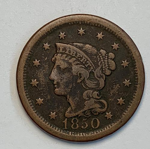 1850 Braided Hair Large Cent [LGC 45]