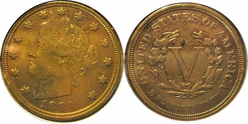 """United States  1883 5 Cents """"Liberty Nickel"""" without """"CENTS"""" 0290"""