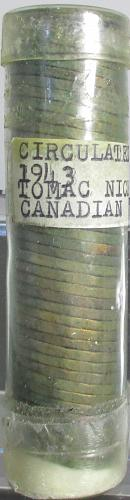 1943 CANADIAN NICKELS ROLL, TOMBAC