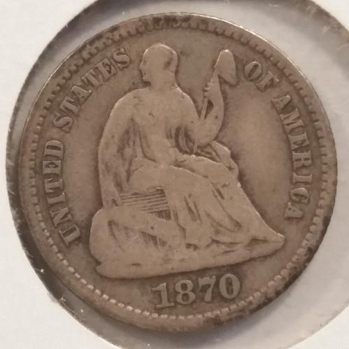 1870 Seated Liberty Half Dime