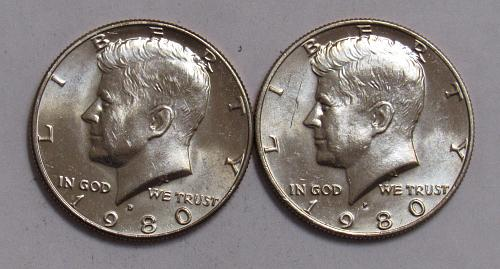 1980 P&D Kennedy Half Dollars in BU condition