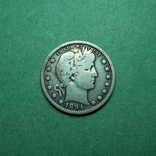 1894 S Barber Quarter Fine Coin   s92