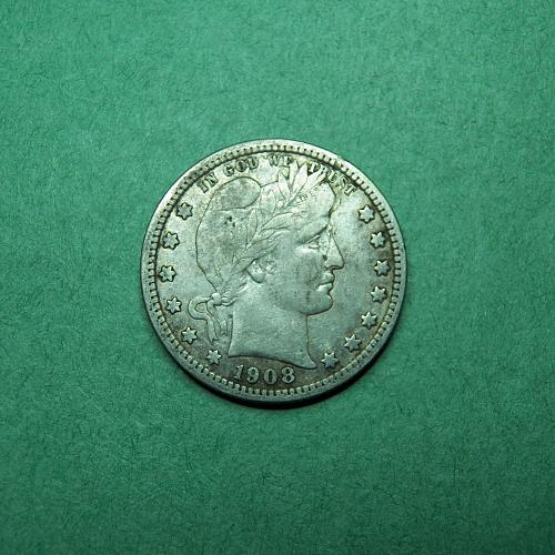 1908 D Barber Quarter Very Fine Coin   s94