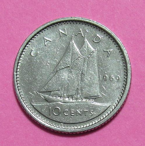 1969 Canada 10 Cents - Bluenose Scooner