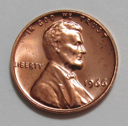1966 1 Cent - Lincoln Memorial Cent - Proof Like