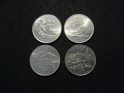50 states & territories - Quarters - 4 coins - 2005,2007,2008,2009 -