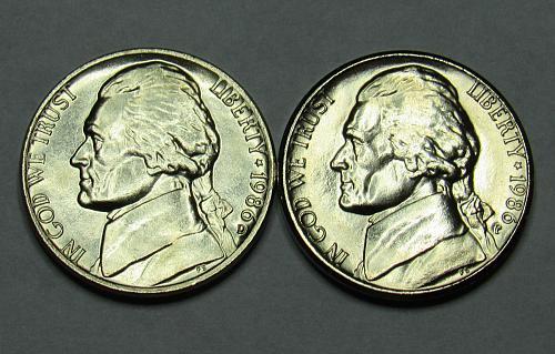 1986 P&D Jefferson Nickels in BU condition
