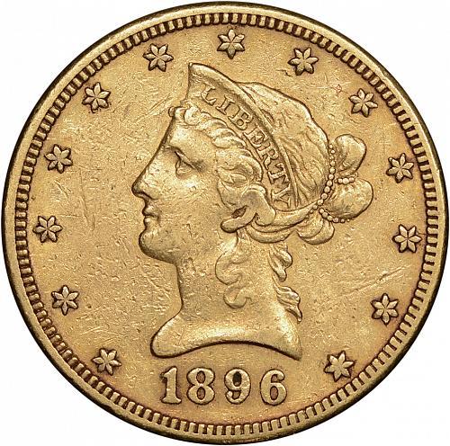 $10.00 1896-S Gold $10 Ten Dollar Eagle - XF / AU