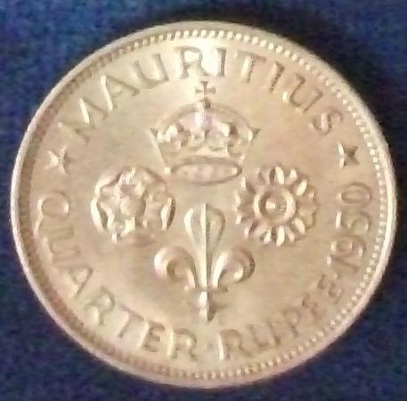 1950 Mauritius 1/4 Rupee UNC