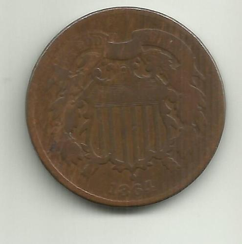 1864-P Two Cents: Large Motto