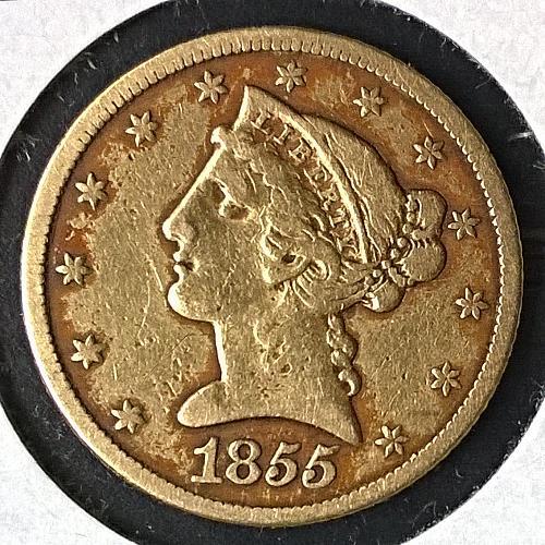 1855 P Coronet Head $5 Half Eagle - 10 Photos!