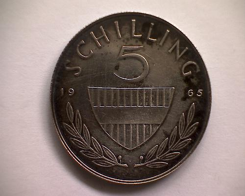 """1965 AUSTRIA FIVE SCHILLING  """"SILVER"""""""