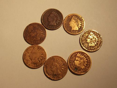 1886 Bundled set of 7 Indian Heads 2 1886, 1 '87, 2 '90, 1 '92, 1 '99