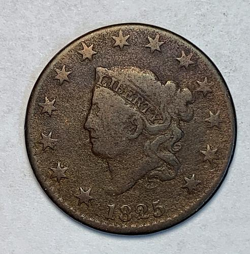 1825 Very Good Coronet Large Cent [LGC 72]