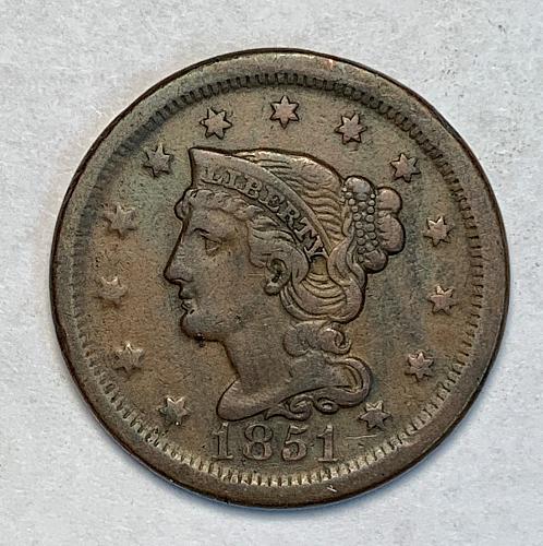 1851 Very Fine Braided Hair Large Cent [LGC 38]